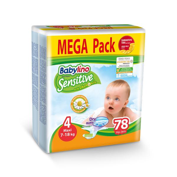 Babylino sensitive pelene mega pack MAXI 4, 78kom