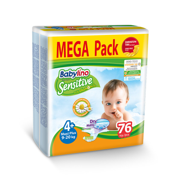 Babylino sensitive pelene mega pack MAXI PLUS 4+, 76kom