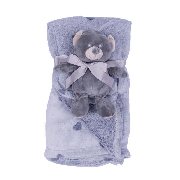 Jungle ćebe sa igračkom Sivi meda , 90x75cm