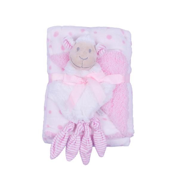 Jungle ćebe sa igračkom Roze ovčica , 90x75cm