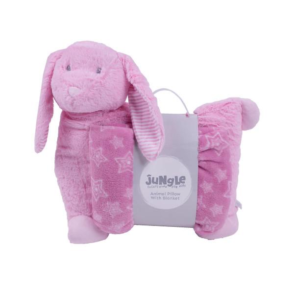 Jungle ćebe sa jastukom Roze zeka , 90x75cm