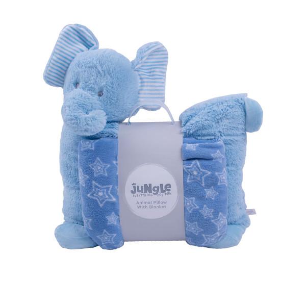 Jungle ćebe sa jastukom Plavi slon , 90x75cm