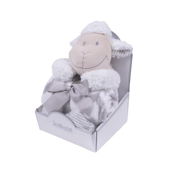 Jungle ćebe sa igračkom Siva ovčica , 90x75cm